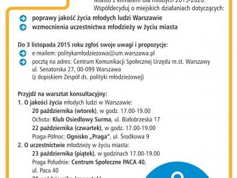 Plakat - konsultacje Programu Młoda Warszawa